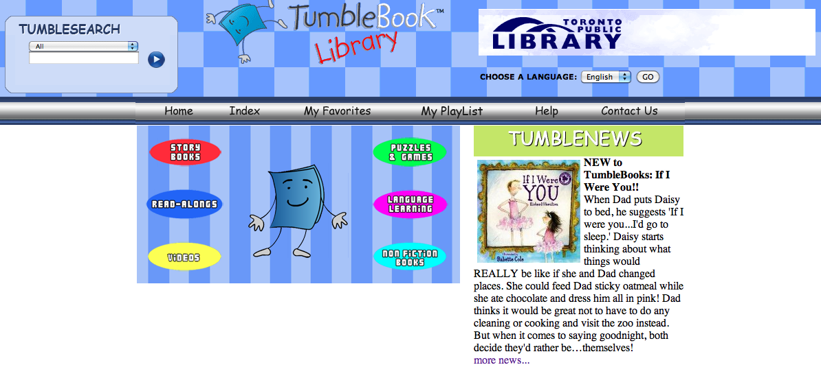 Tumblebooks portal screen