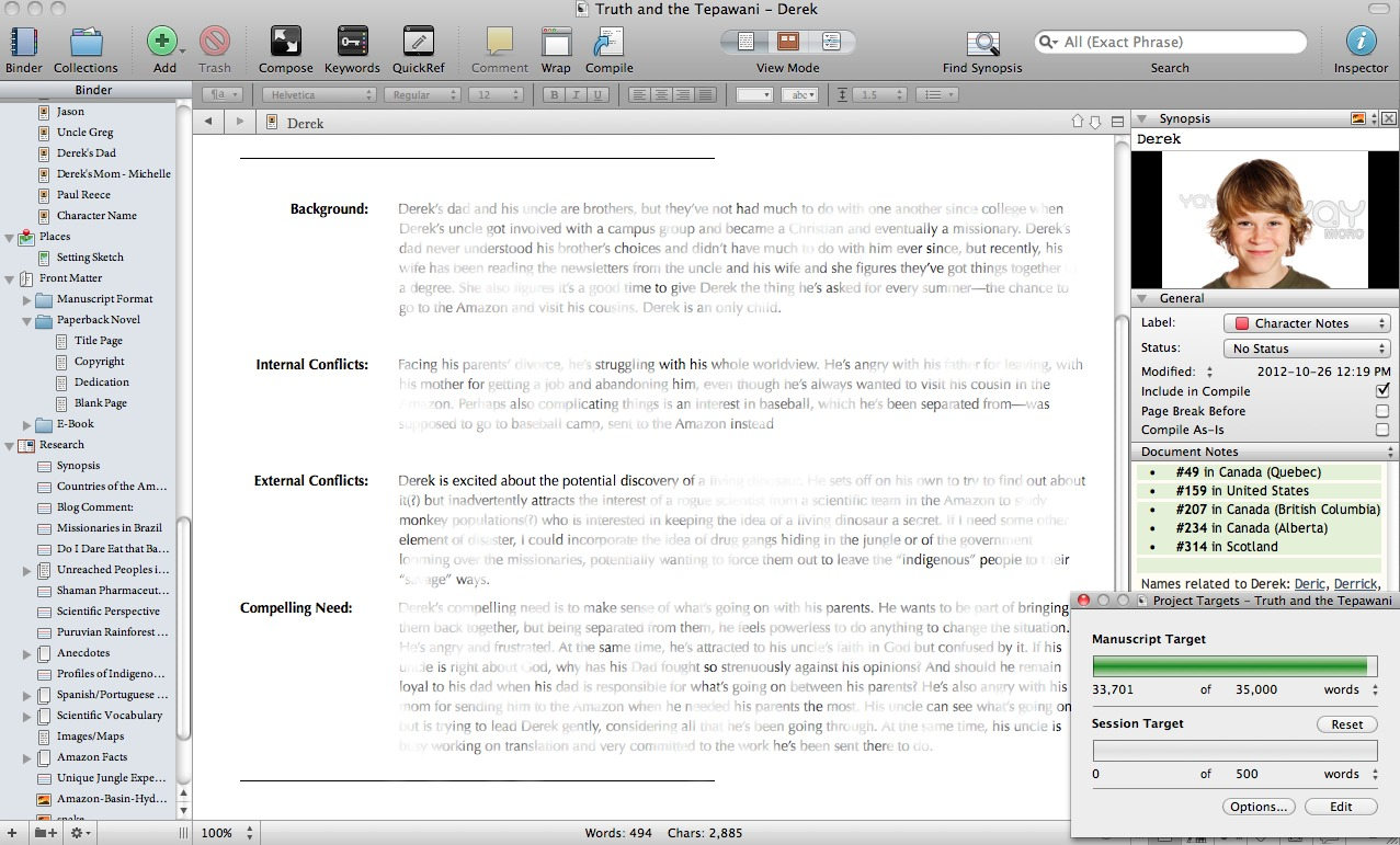 Scrivener for character development