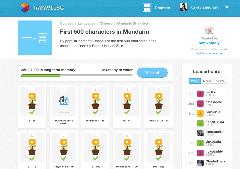 Memrise flashcard learning program